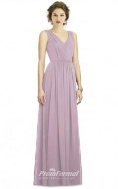 BDUK2192 A Line Lilac Chiffon V Neck Long Bridesmaid Dress