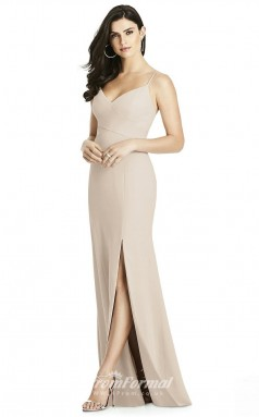 BDUK2195 Mermaid/Trumpet Beige Satin Chiffon Straps V Neck Long Bridesmaid Dress