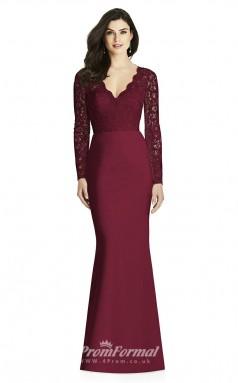 BDUK2196 Mermaid/Trumpet Dark Fuchsia Lace Satin V Neck Long Sleeve Long Bridesmaid Dress