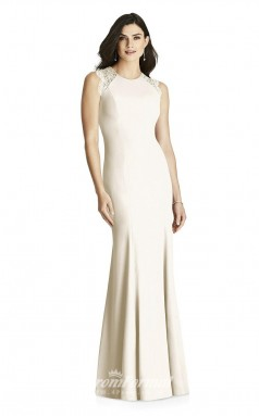 BDUK2197 Mermaid/Trumpet Beige Lace Satin Scoop Long Bridesmaid Dress