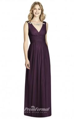 BDUK2205 A Line Purple Chiffon V Neck Long Bridesmaid Dress