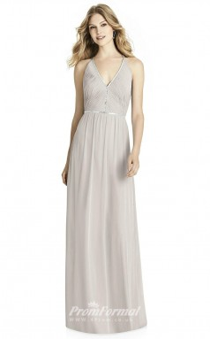 BDUK2209 A Line Light Gray Chiffon V Neck Long Bridesmaid Dress