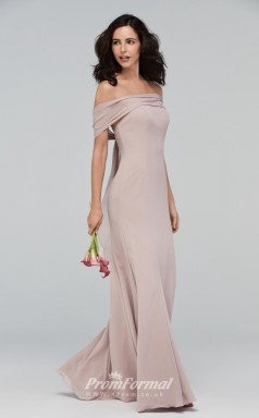 BDUK2212 Mermaid/Trumpet Gray Chiffon Off the Shoulder Long Bridesmaid Dress