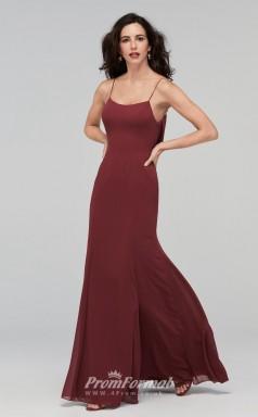 BDUK2214 Mermaid/Trumpet Dark Burgundy Chiffon Straps Long Bridesmaid Dress