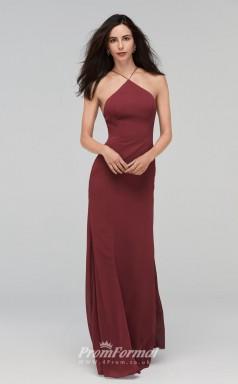 BDUK2216 Sheath Burgundy Chiffon Halter Long Bridesmaid Dress