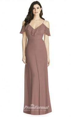 BDUK2220 A Line Lotus Chiffon Off the Shoulder Straps Short Sleeve Long Bridesmaid Dress