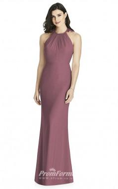 BDUK2222 Mermaid/Trumpet Purple Chiffon Halter Long Bridesmaid Dress