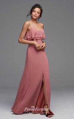 BDUK2226 A Line Lotus Satin Chiffon Straps Floor Length Bridesmaid Dress