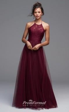 BDUK2232 A Line Dark Burgundy Lace Tulle Halter Floor Length Bridesmaid Dress
