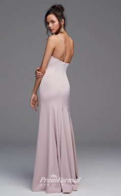 BDUK2236 Mermaid/Trumpet Gray Satin Chiffon One Shoulder Floor Length Bridesmaid Dress