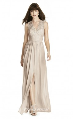 BDUK2237 A Line Beige Lace Chiffon V Neck Floor Length Bridesmaid Dress