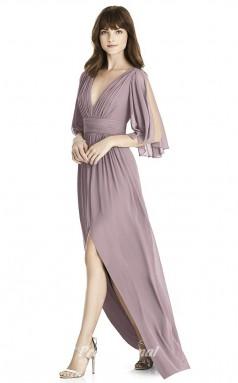 BDUK2240 A Line Light Purple Chiffon V Neck Short Sleeve Floor Length Bridesmaid Dress