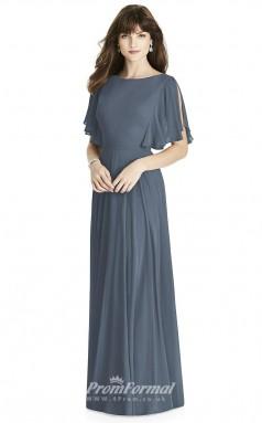 BDUK2241 A Line Steel Blue Chiffon Bateau Short Sleeve Floor Length Bridesmaid Dress