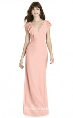 BDUK2242 Mermaid/Trumpet Pink Chiffon V Neck Short Sleeve Floor Length Bridesmaid Dress