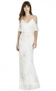 BDUK2244 Mermaid/Trumpet Ivory Chiffon Off the Shoulder Straps V Neck Short Sleeve Floor Length Bridesmaid Dress