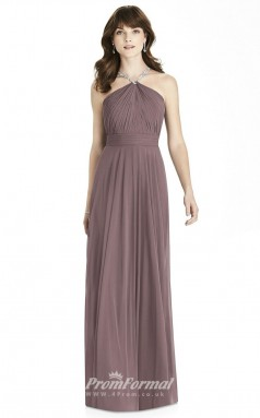 BDUK2245 A Line  Chiffon Halter Floor Length Bridesmaid Dress
