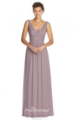 BDUK2249 A Line Purple Chiffon V Neck Floor Length Bridesmaid Dress