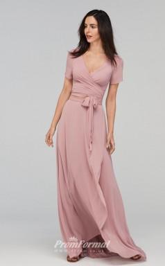 BDUK2250 A Line Nude Pink Chiffon V Neck Short Sleeve Long Bridesmaid Dress