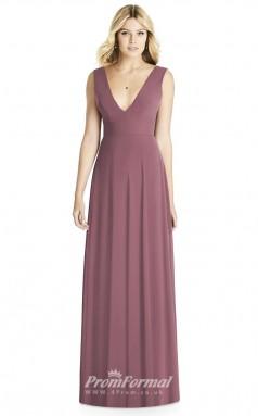 BDUK2255 A Line Purple Satin Chiffon V Neck Long Bridesmaid Dress