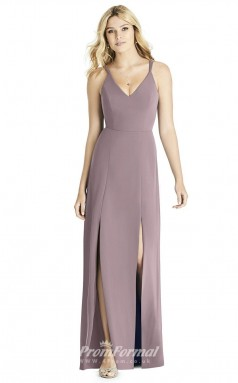 BDUK2257 Sheath Purple Satin Chiffon V Neck Long Bridesmaid Dress