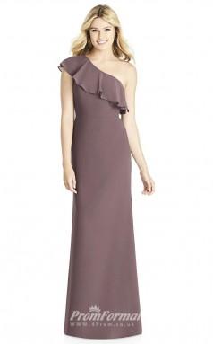 BDUK2259 Sheath purple Satin Chiffon One Shoulder Long Bridesmaid Dress