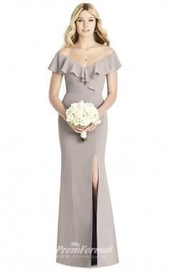 BDUK2260 Sheath Silver Satin Chiffon Off the Shoulder Short Sleeve Long Bridesmaid Dress