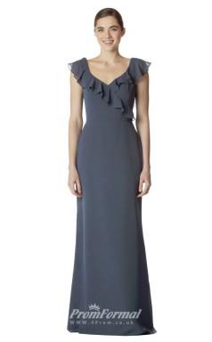 BDUK2263 Mermaid/Trumpet Steel Blue Chiffon V Neck Short Sleeve Long Bridesmaid Dress