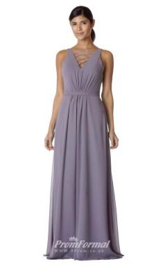 BDUK2264 A Line Leavender Chiffon V Neck Long Bridesmaid Dress
