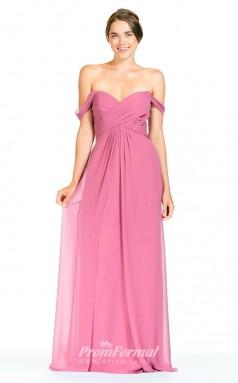 BDUK2281 A Line Fuchsia Chiffon Off the Shoulder Long Bridesmaid Dress