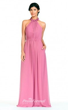 BDUK2282 A Line Fuchsia Chiffon Halter Floor Length Bridesmaid Dress