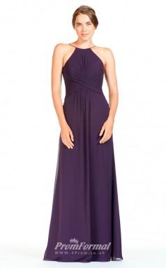 BDUK2283 A Line Regency Chiffon Halter Floor Length Bridesmaid Dress