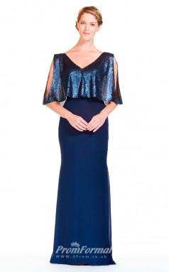 BDUK2292 Mermaid/Trumpet Royal Blue Sequined Chiffon V Neck Short Sleeve Floor Length Bridesmaid Dress