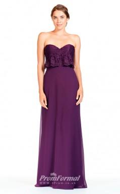 BDUK2295 A Line Grape Lace Chiffon Sweetheart Floor Length Bridesmaid Dress
