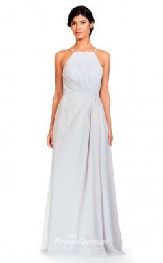BDUK2297 A Line Beige Chiffon Halter Floor Length Bridesmaid Dress