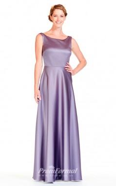 BDUK2298 A Line Purple Stretch Satin Scoop Floor Length Bridesmaid Dress