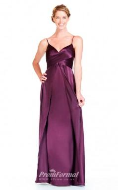BDUK2301 A Line Grape Charmeuse Straps V Neck Floor Length Bridesmaid Dress