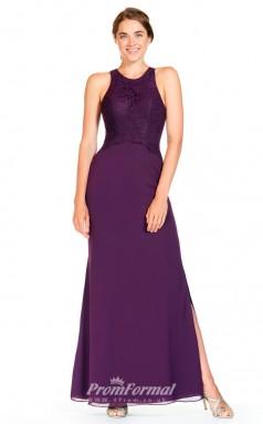 BDUK2302 Sheath Regency Lace Chiffon Jewel Floor Length Bridesmaid Dress