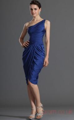 Royal Blue Taffeta Sheath/Column One Shoulder Short Prom Dress(BD04-355)