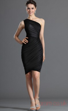 Black Satin Chiffon Sheath/Column One Shoulder Short Cocktail Dress(BD04-356)