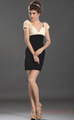 Pearl Pink 100D Chiffon Sheath/Column V-neck Short Prom Dress(BD04-357)