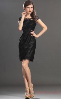 Black Lace Sheath/Column Off The Shoulder Short Prom Dress(BD04-358)
