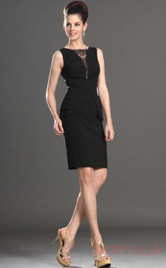 Black 100D Chiffon Sheath/Column Bateau Short Prom Dress(BD04-359)