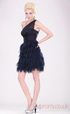 Ink Blue 30D Chiffon A-line One Shoulder Short Prom Dress(BD04-360)