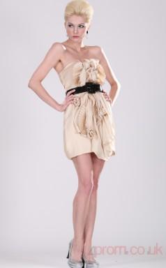 Pearl Pink Satin Chiffon Sheath/Column Strapless Short Prom Dress(BD04-361)