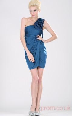 Royal Blue 100D Chiffon Sheath/Column One Shoulder Short Prom Dress(BD04-363)