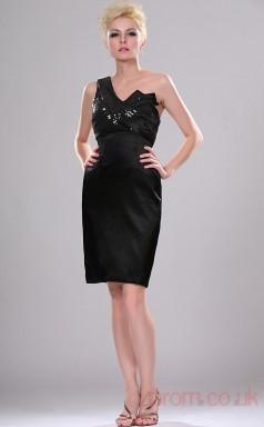 Black Satin Sheath/Column One Shoulder Short Cocktail Dress(BD04-364)