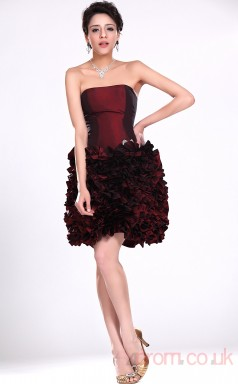 Burgundy Taffeta Princess Strapless Short Prom Dress(BD04-372)