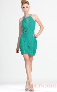 Jade 100D Chiffon Sheath/Column Halter Short Prom Dress(BD04-374)