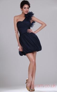 Ink Blue Organza Ball Gown One Shoulder Mini Prom Dress(BD04-386)