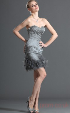 Silver Organza Sheath/Column Strapless Sweetheart Mini Prom Dress(BD04-393)